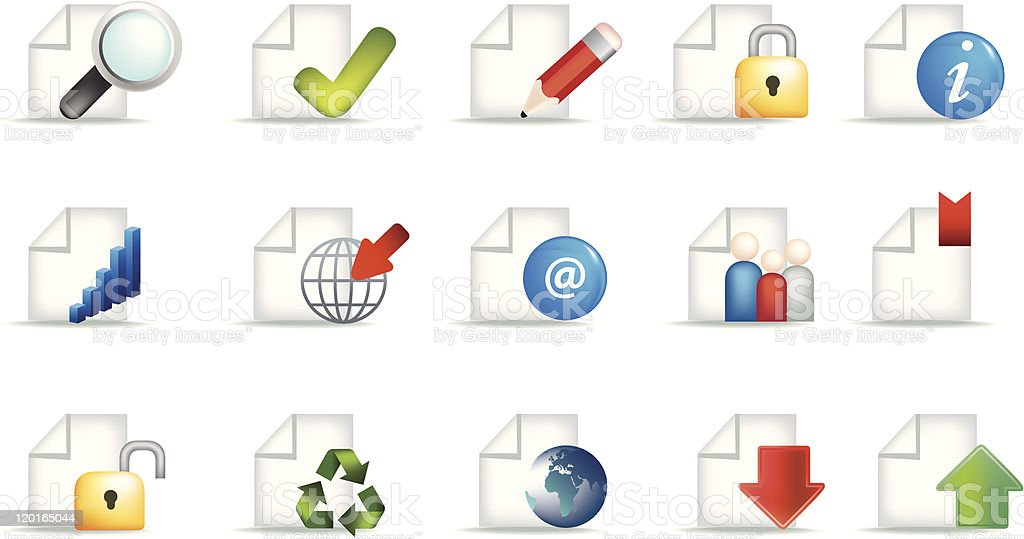business document icon set royalty-free business document icon set stock vector art & more images of 'at' symbol