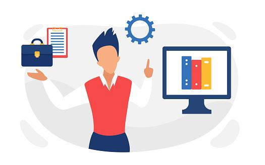 Business documents storage organization with businessman working to organize file folders