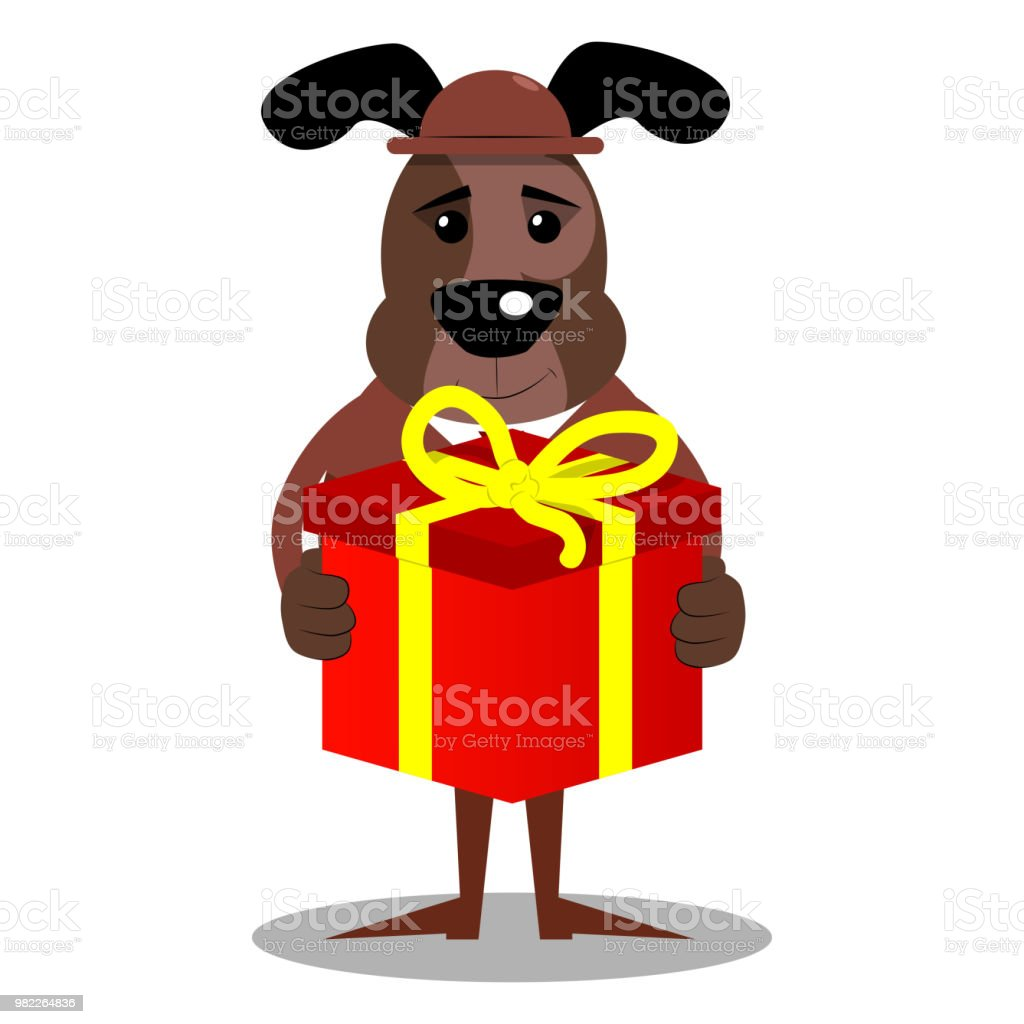 business dog holding big gift box stock vector art more images of