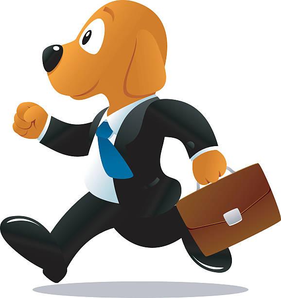 geschäft hund laufen - arbeitshunde stock-grafiken, -clipart, -cartoons und -symbole