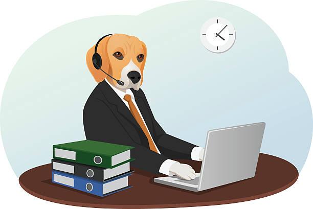 business-hund - arbeitshunde stock-grafiken, -clipart, -cartoons und -symbole