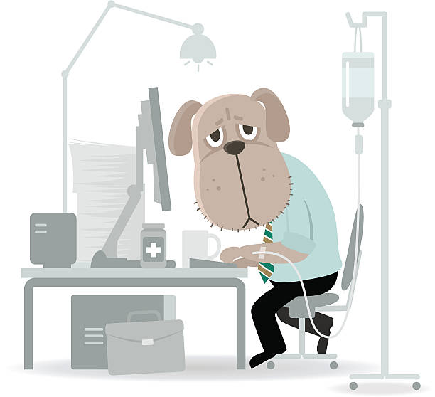 geschäft hund müde, hart und mit infusion - arbeitshunde stock-grafiken, -clipart, -cartoons und -symbole
