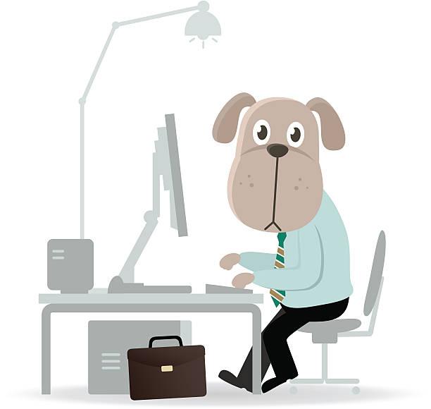geschäft hund arbeit vor dem computer. - arbeitshunde stock-grafiken, -clipart, -cartoons und -symbole