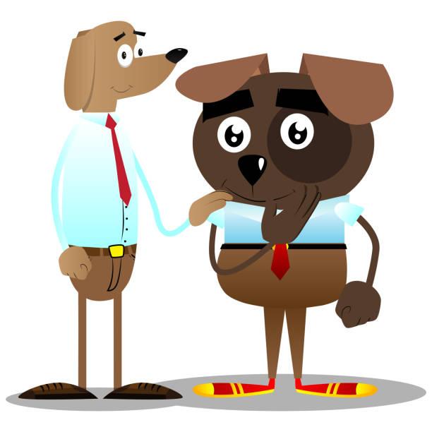 geschäft hunde tröstet ein anderer. - arbeitshunde stock-grafiken, -clipart, -cartoons und -symbole