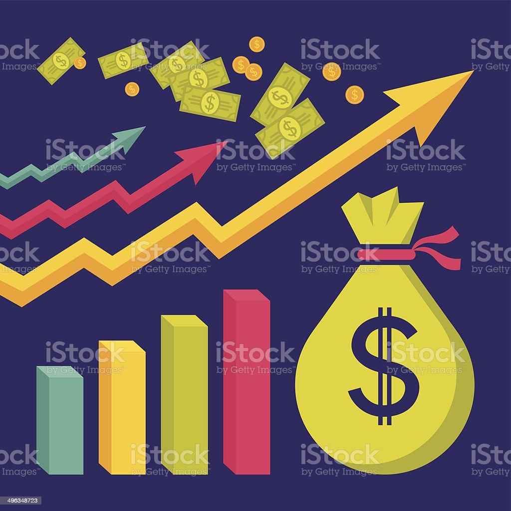 Business Dollar Trend - Vector Illustration in Flat Design Style vector art illustration