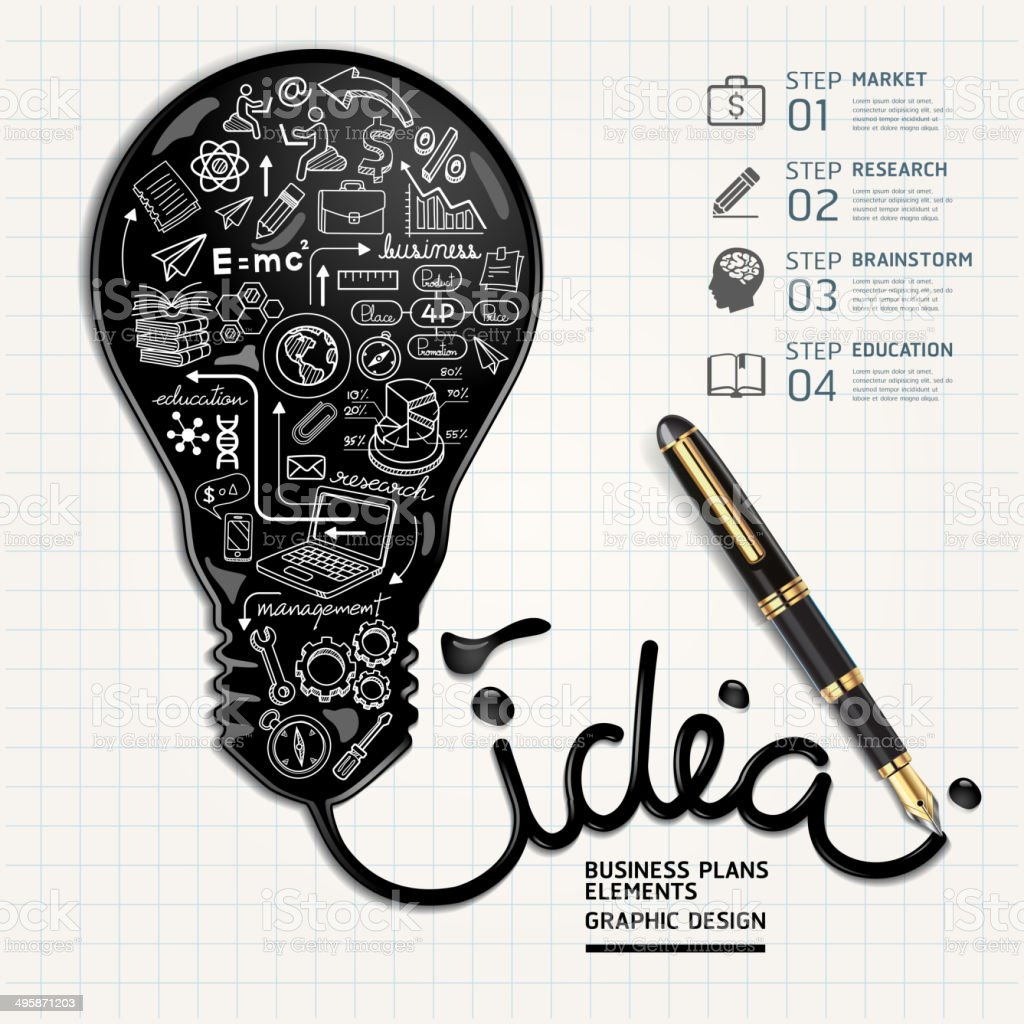 Business doodles inside idea light bulb vector art illustration