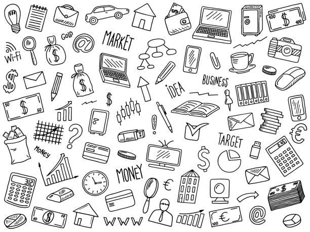 business doodles set hand drawn vector illustration set of business elements book clipart stock illustrations