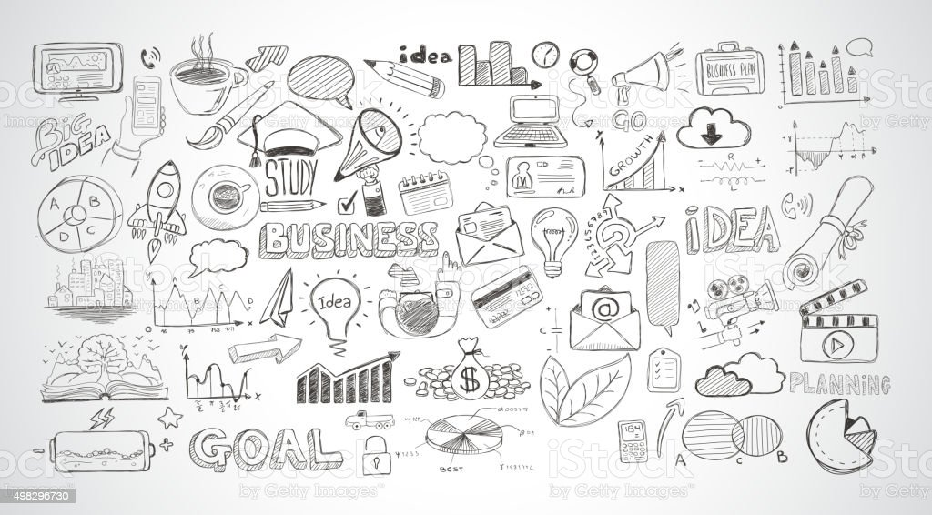Business doodles Sketch set : infographics elements isolated, vector art illustration