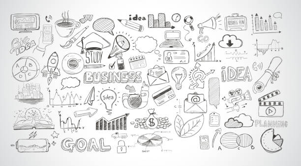 Business doodles Sketch set : infographics elements isolated, Business doodles Sketch set : infographics elements isolated, vector shapes. It include lots of icons included graphs, stats, devices,laptops, clouds, concepts and so on. business drawings stock illustrations