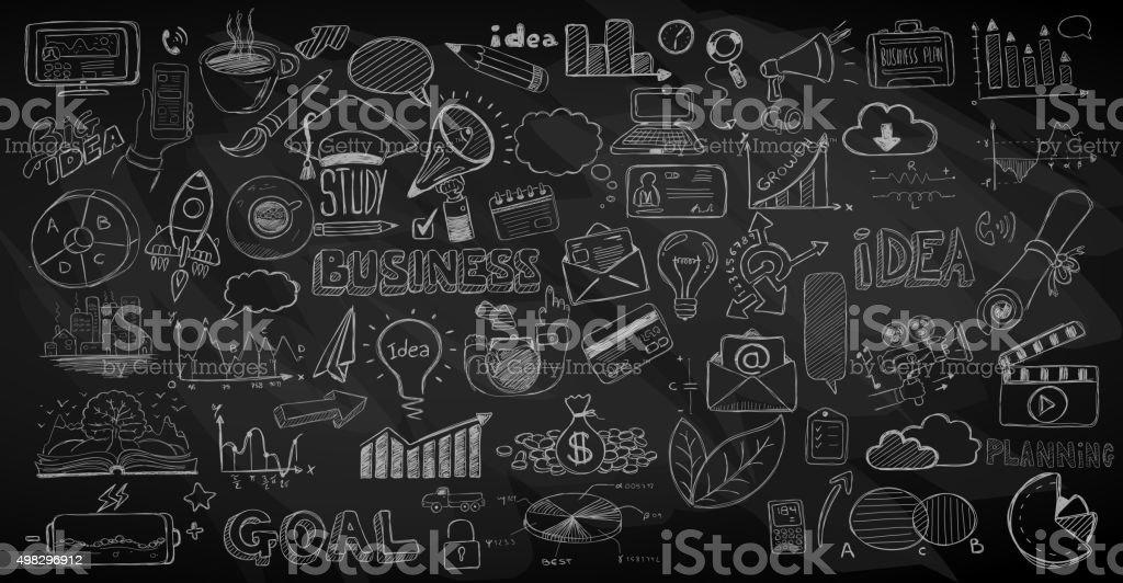 doodles negócios esboço conjunto: infográficos elementos isolado, - ilustração de arte em vetor