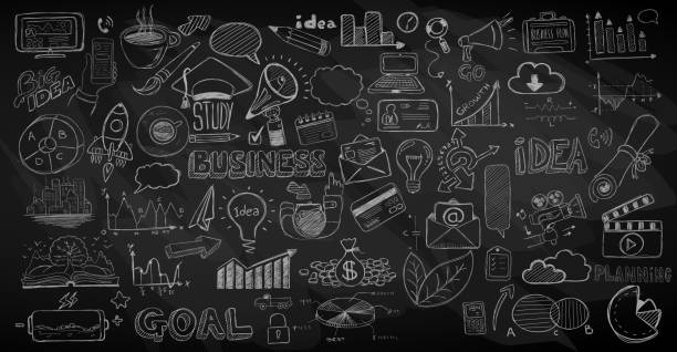 Business doodles Sketch set : infographics elements isolated, Business doodles Sketch set : infographics elements isolated, vector shapes. It include lots of icons included graphs, stats, devices,laptops, clouds, concepts and so on. blackboard visual aid stock illustrations