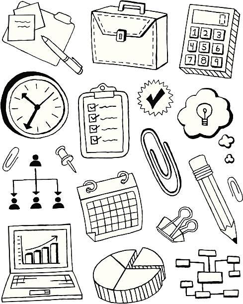 비즈니스 doodles - 클립 문구류 stock illustrations