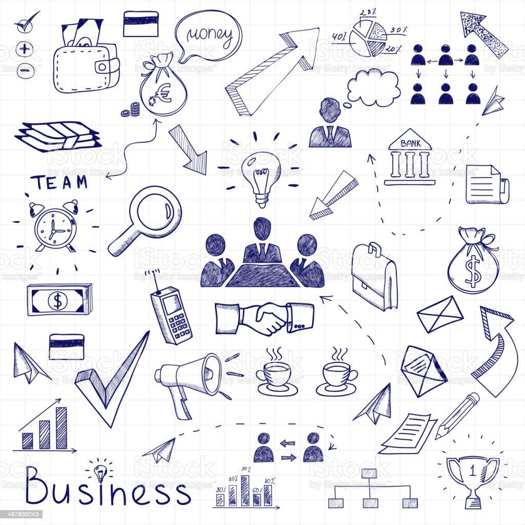 Business und Kritzeleien - Lizenzfrei Aktentasche Vektorgrafik