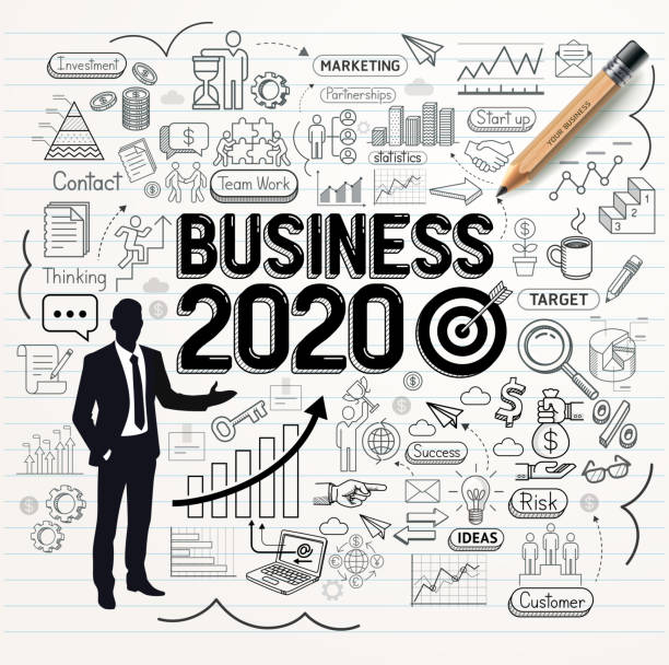 Business Zeichnung Doodles Symbole gesetzt. Business Weg 2020 Idee. Vektor-Illustration-Stil. – Vektorgrafik