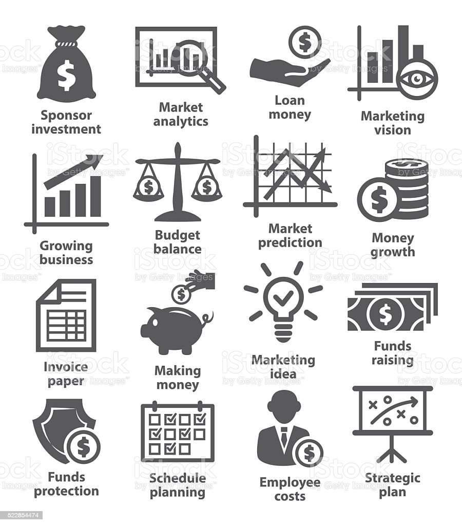 Business economic icons vector art illustration