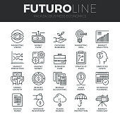 Modern thin line icons set of business economic development, financial growth. Premium quality outline symbol collection. Simple mono linear pictogram pack. Stroke vector symbol concept for web graphics.