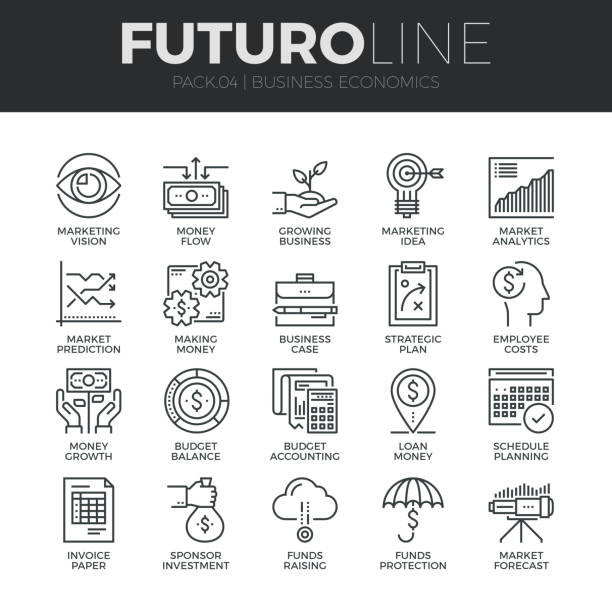 Business Economics Futuro Line Icons Set vector art illustration