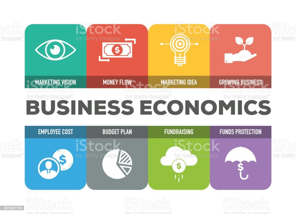 Business Economics Icons Set vector art illustration