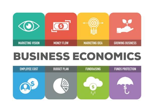 Business Economics Icons Set vector art illustration