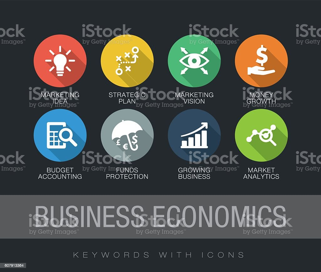 Business Economics keywords with icons vector art illustration