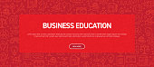 Business Education Concept - Business Related Seamless Pattern Web Banner