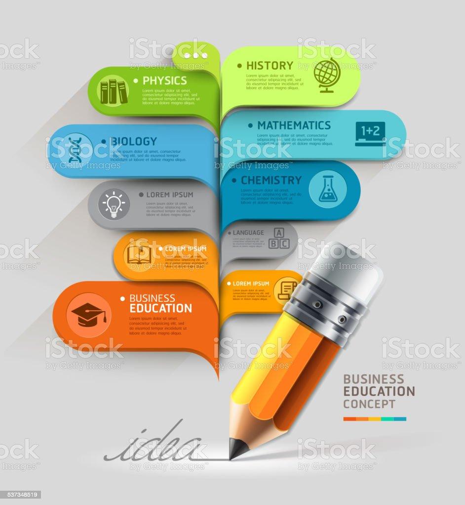 Business education concept. Pencil and bubble speech template. vector art illustration