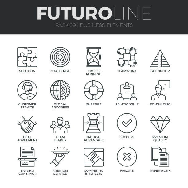 Business Elements Futuro Line Icons Set vector art illustration