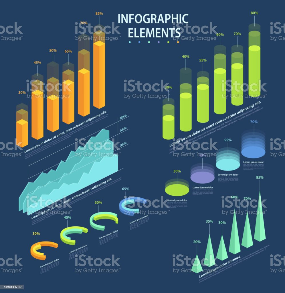 Business elements of infographic, set of statistical data, pie charts, columns, pyramids, graphs in 3d isometric design. vector art illustration