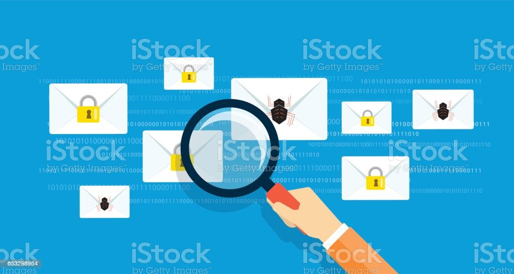 business email marketing message security online concept. flat vector.internet virus scan and business cyber security concept vector art illustration