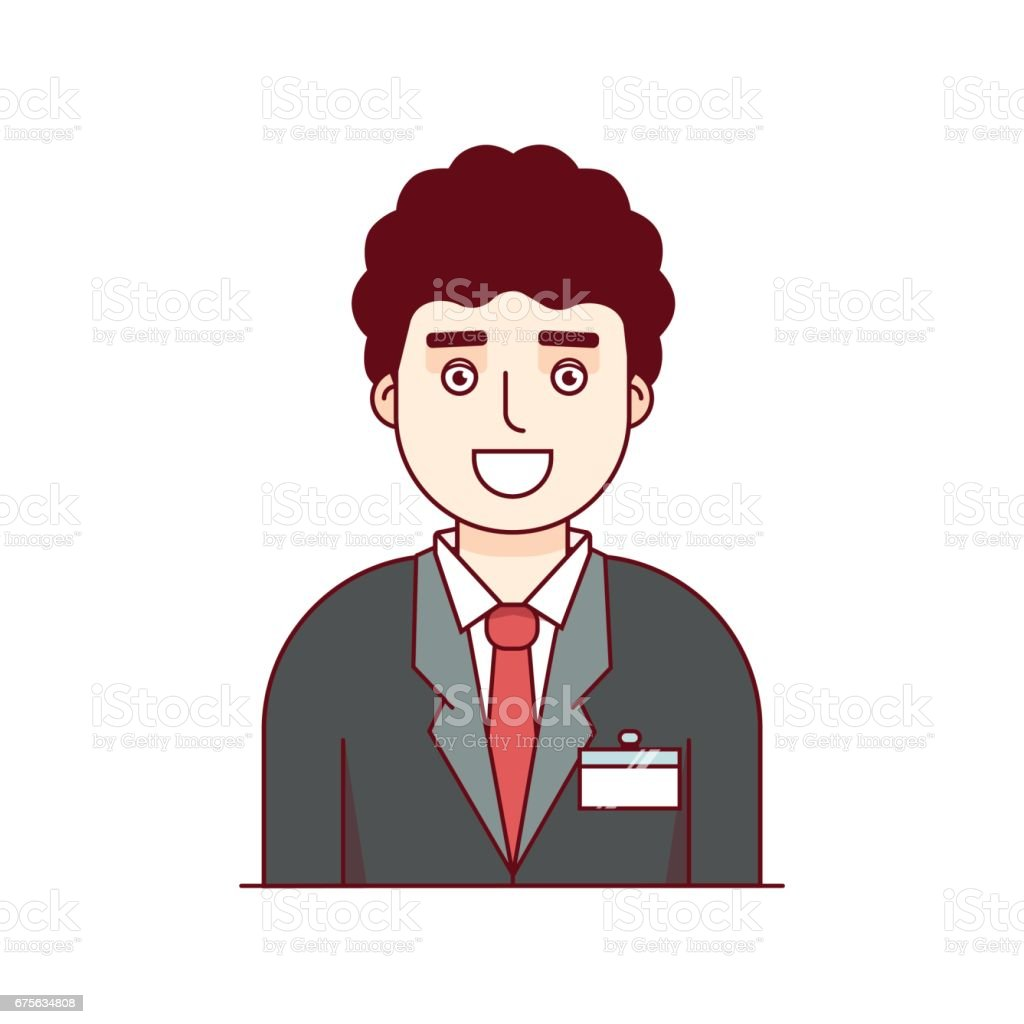 business employee wearing formal suit with badge stock vector art