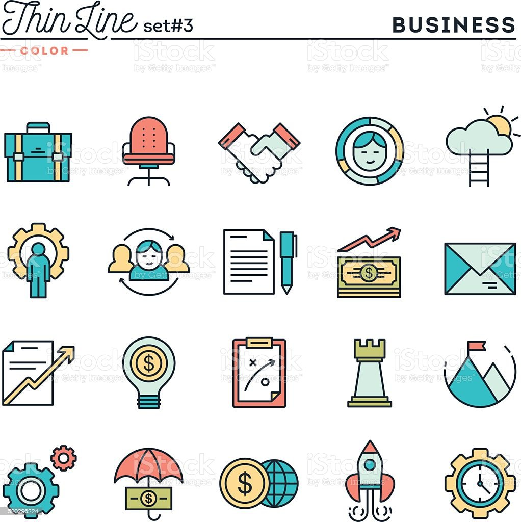 Business, entrepreneurship, teamwork, goals and more, thin line color icons vector art illustration