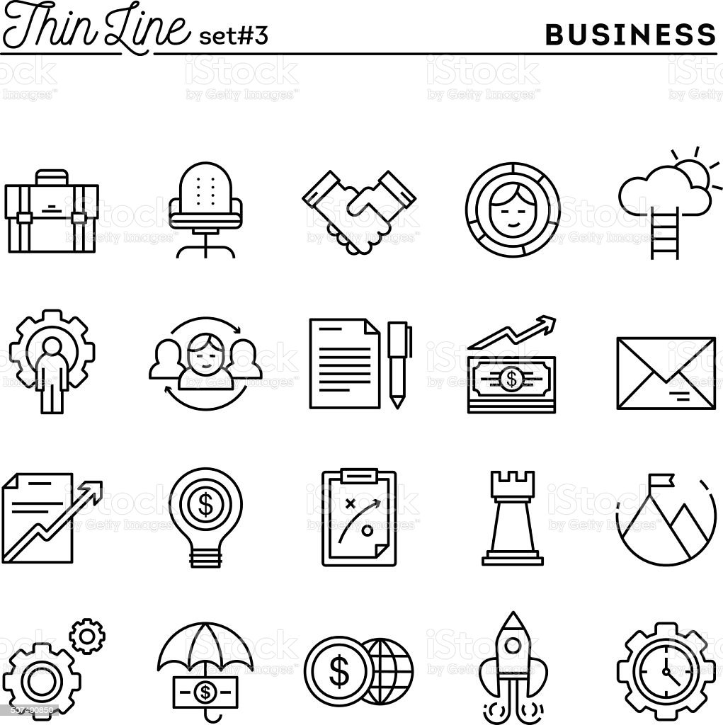 Business, entrepreneurship, teamwork, goals and more, thin line vector art illustration