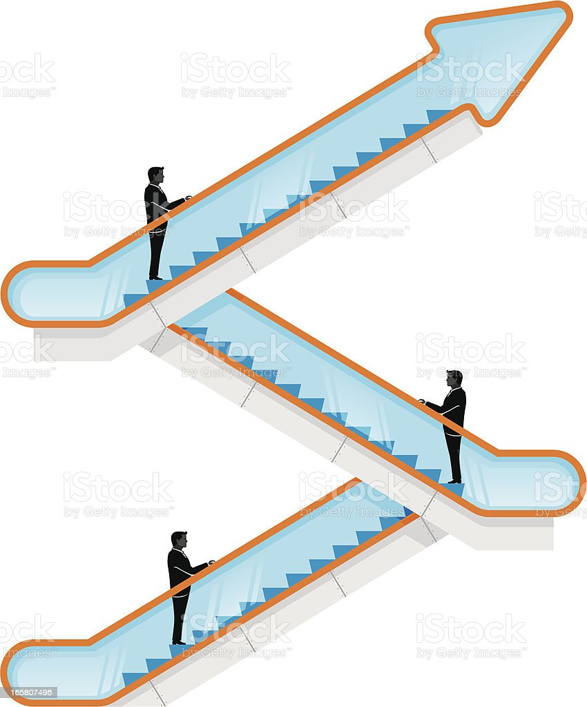 Business Escalator Up vector art illustration