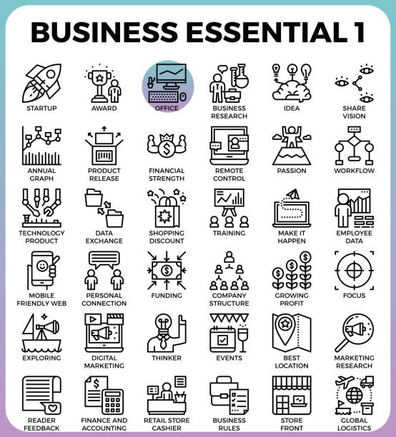 Business Essential icons vector art illustration