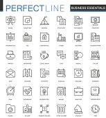 Business essential thin line web icons set. Outline stroke icons design