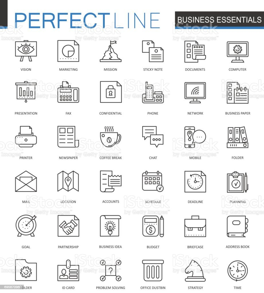 Business essential thin line web icons set. Outline stroke icons design. vector art illustration