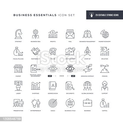 29 Business Essentials Icons - Editable Stroke - Easy to edit and customize - You can easily customize the stroke with
