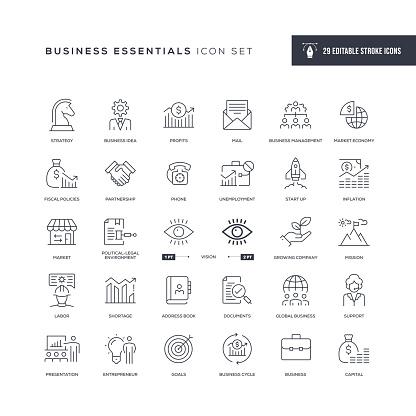 Business Essentials Editable Stroke Line Icons