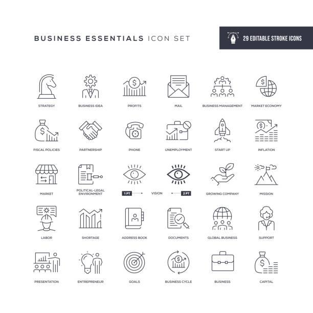 ilustrações, clipart, desenhos animados e ícones de ícones da linha de traçado editável de itens essenciais para negócios - entrepreneurship