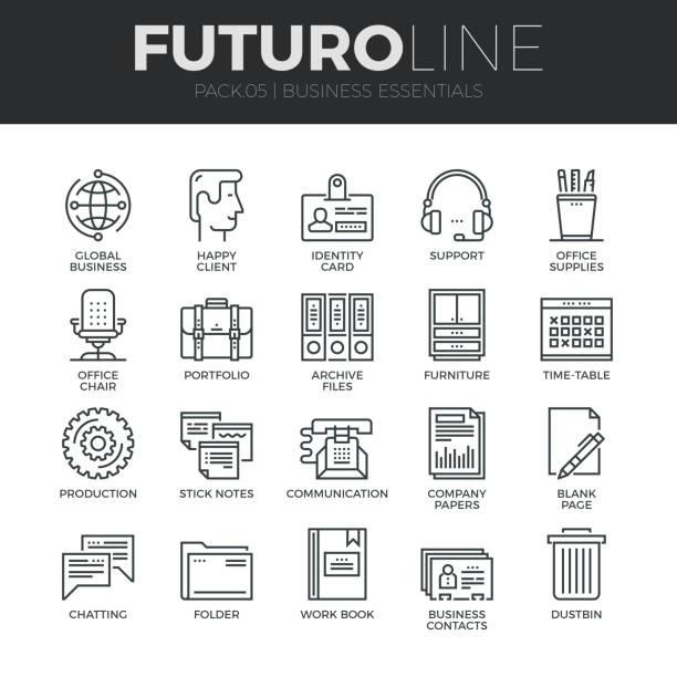 business essentials futuro linie icons set - schrankkorb stock-grafiken, -clipart, -cartoons und -symbole