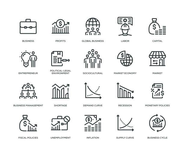 stockillustraties, clipart, cartoons en iconen met icon-set voor business essentials - economie