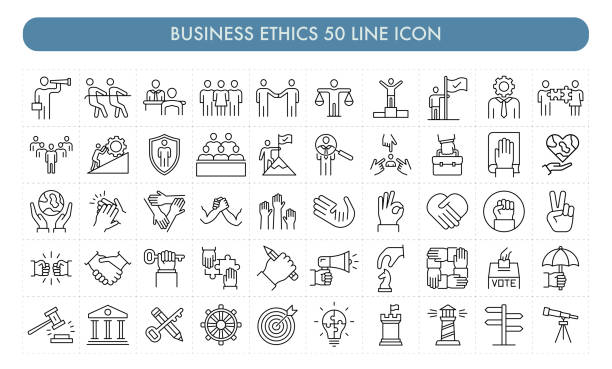 Business Ethics 50 Line Icon Business Ethics 50 Line Icon dedication stock illustrations