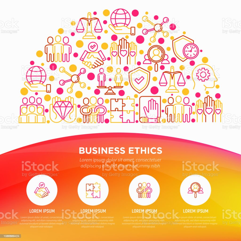 Business Ethics Concept In Half Circle With Thin Line Icons