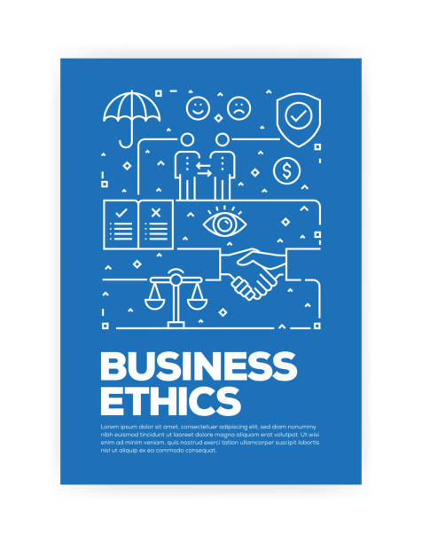 illustrations, cliparts, dessins animés et icônes de business ethics concept ligne style couverture design annuel rapport, flyer, brochure. - rse
