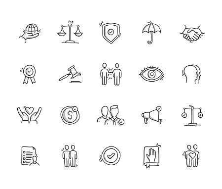 Business Ethics Hand Draw Line Icon Set