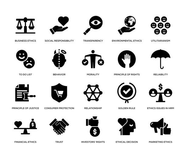 비즈니스 윤리 아이콘 세트 - 인권 stock illustrations