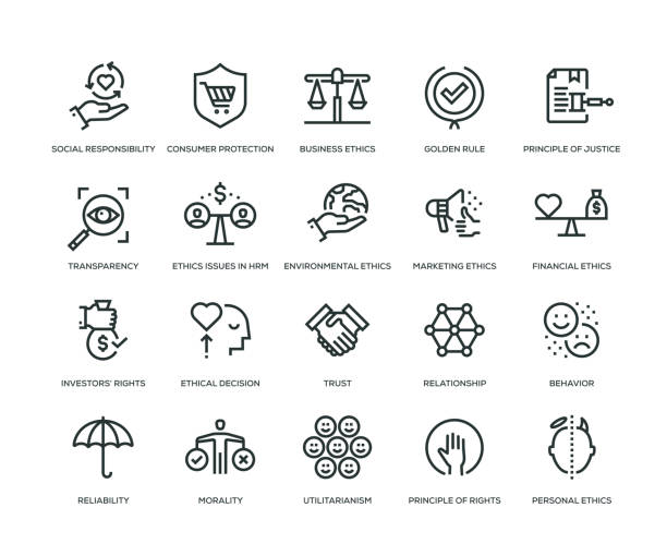 business ethics icons - line series - social stock illustrations, clip art, cartoons, & icons