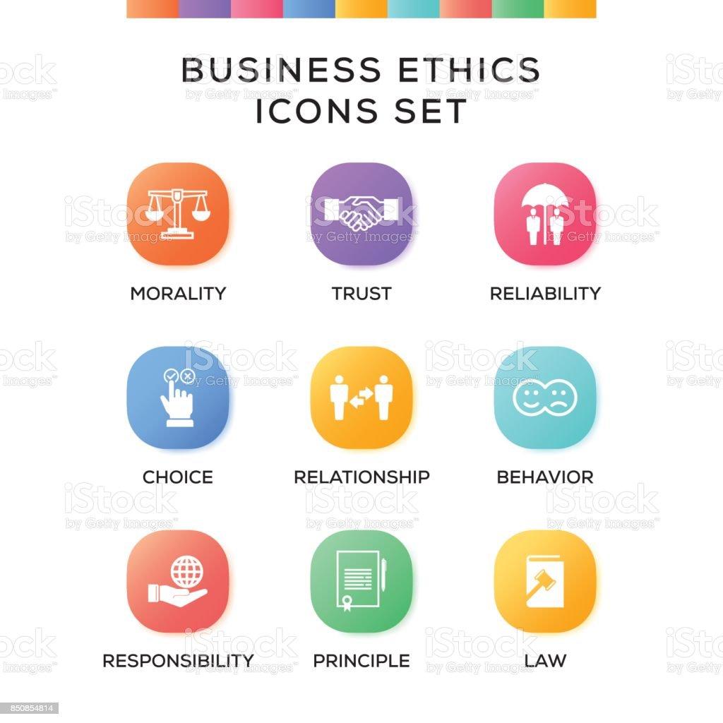 Business Ethics Icons Set on Gradient Background vector art illustration