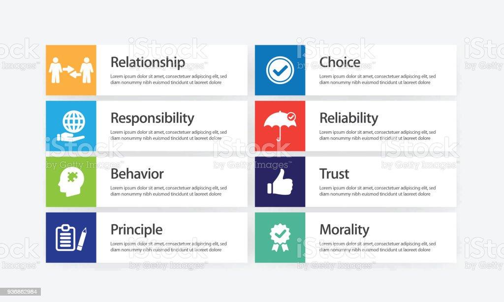 Business Ethics Infographic Icon Set vector art illustration