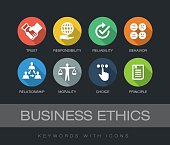 Business Ethics chart with keywords and icons. Flat design with long shadows.